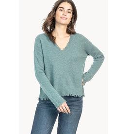 Lilla P Lilla P Distressed V-Neck Cashmere Sweater