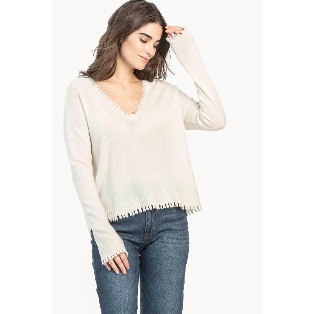 Lilla P Lilla P Distressed V-Neck Casmere Sweater