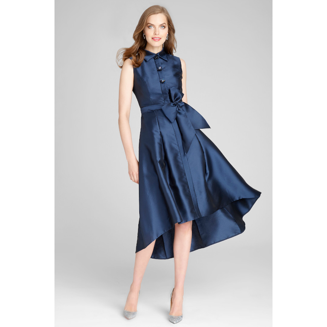Teri Jon Teri Jon Sleeveless Belted Stretch Gazar Shirtdress