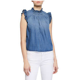 Frame Frame Ruffle Denim Sleeveless Top