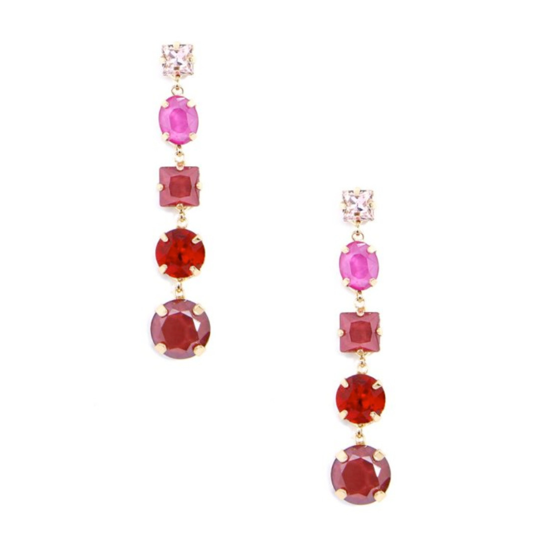 Zenzii Zenzii Drop Earring Mixed Crystal Red Multi