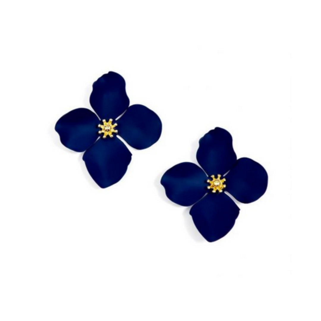 Zenzii Zenzii Large Painted Flower Earrings Navy