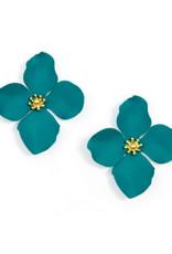 Zenzii Zenzii Large Painted Flower Earring Teal