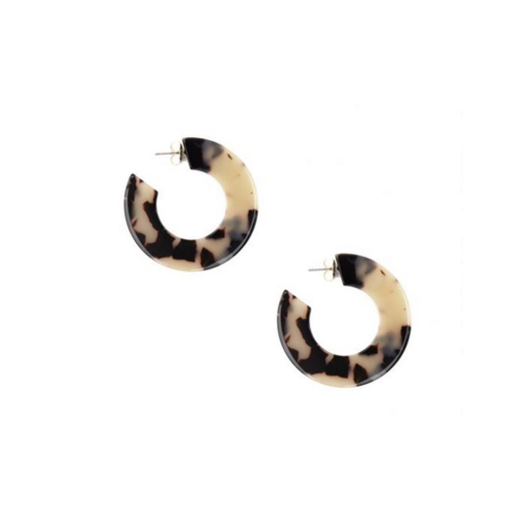 Zenzii Zenzii Flat Torti Hoop Earring Black/Tan