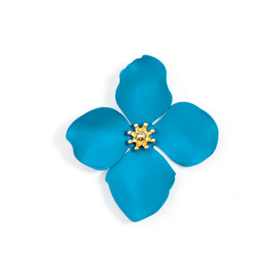 Zenzii Zenzii Large Painted Flower Earrings Neon Blue