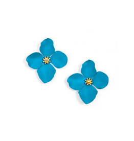 Zenzii Zenzii Large Painted Flower Earrings Neon Blue