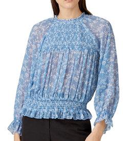 ML Monique Lhuillier ML Monique Lhuillier Smocked Long Sleeve Blouse