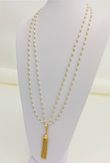 """Be- Je Designs Be- Je Designs 36"""" Double Pearl Necklace W/ Gold Tassel"""