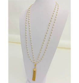 "Be- Je Designs Be- Je Designs 36"" Double Pearl Necklace W/ Gold Tassel"