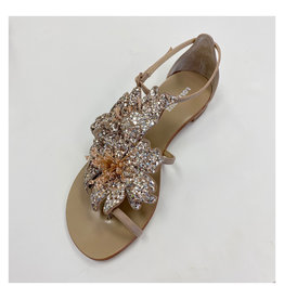 Lola Cruz Lola Cruz Hortensia Metallic Flower Sandals