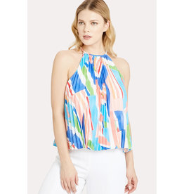 Milly Milly Bonny Nautical Print Pleated Top