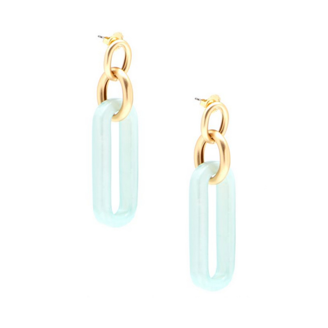 Zenzii Zenzii Link Earring Mint/Gold