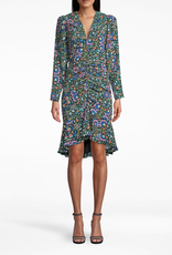 Nicole Miller Nicole Miller Mosiac Silk Gathered Front Dress