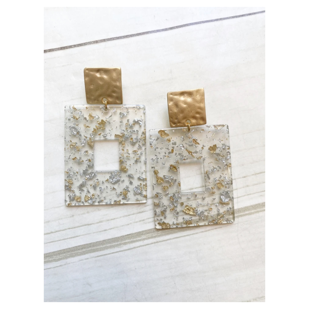 Virtue Jewelry Virtue Jewerly Acrylic Rectangle On Square Post