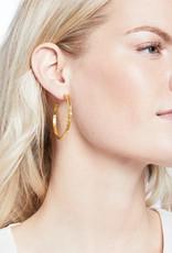 Julie Vos Julie Vos Savannah Hoop Gold Pearl Earrings Large
