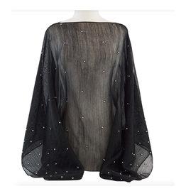 Randi & Will Randi & Will Wool & Silk Sheer Poncho with Pearls