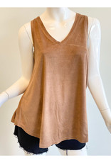 Dylan Dylan Luxe Suede Knit Sleeveless V-Neck
