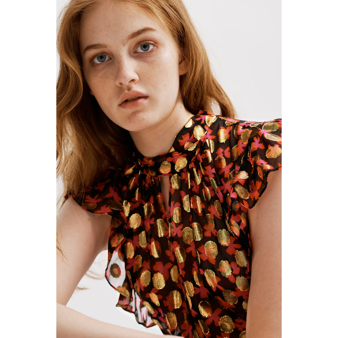Milly Milly Fara Lurex Clipping Top