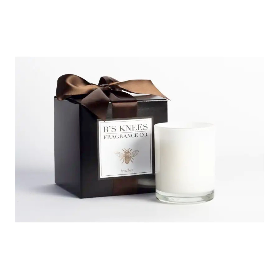 B's Knees Fragrance Co. B's Knees Leather 1 Wick White Candle