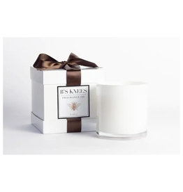 B's Knees Fragrance Co. B's Knees Leather 2 Wick White Candle
