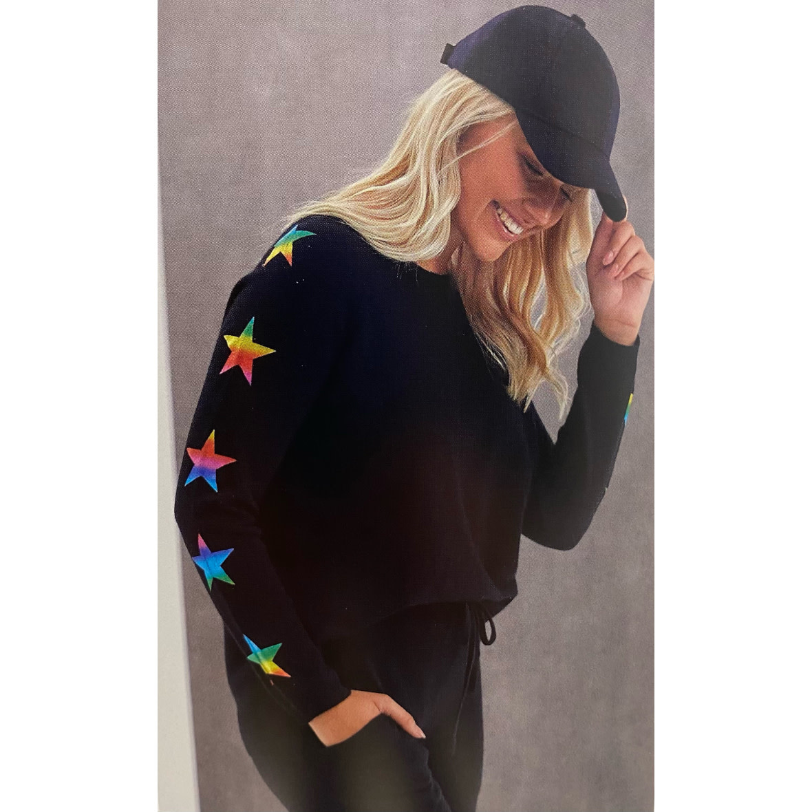Brodie Cashmere Brodie Star Sleeve Foil Sweater
