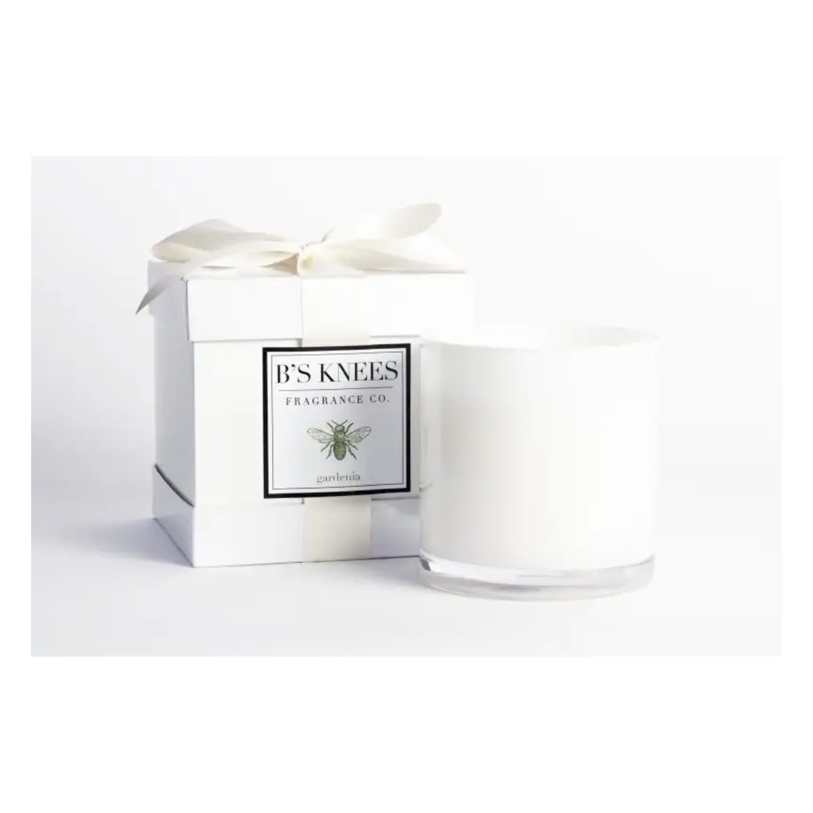 B's Knees Fragrance Co. B's Knees Gardenia 3 Wick White Candle