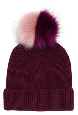 Echo Echo Ribbed Faux Fur Pom Hat