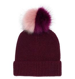 Echo Echo Ribbed Faux Fur Pom Hat