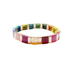 Caryn Lawn Caryn Lawn Square Rainbow Tile Bracelet