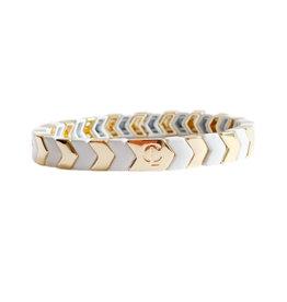 Caryn Lawn Caryn Lawn Gold/White Chevron Bracelet