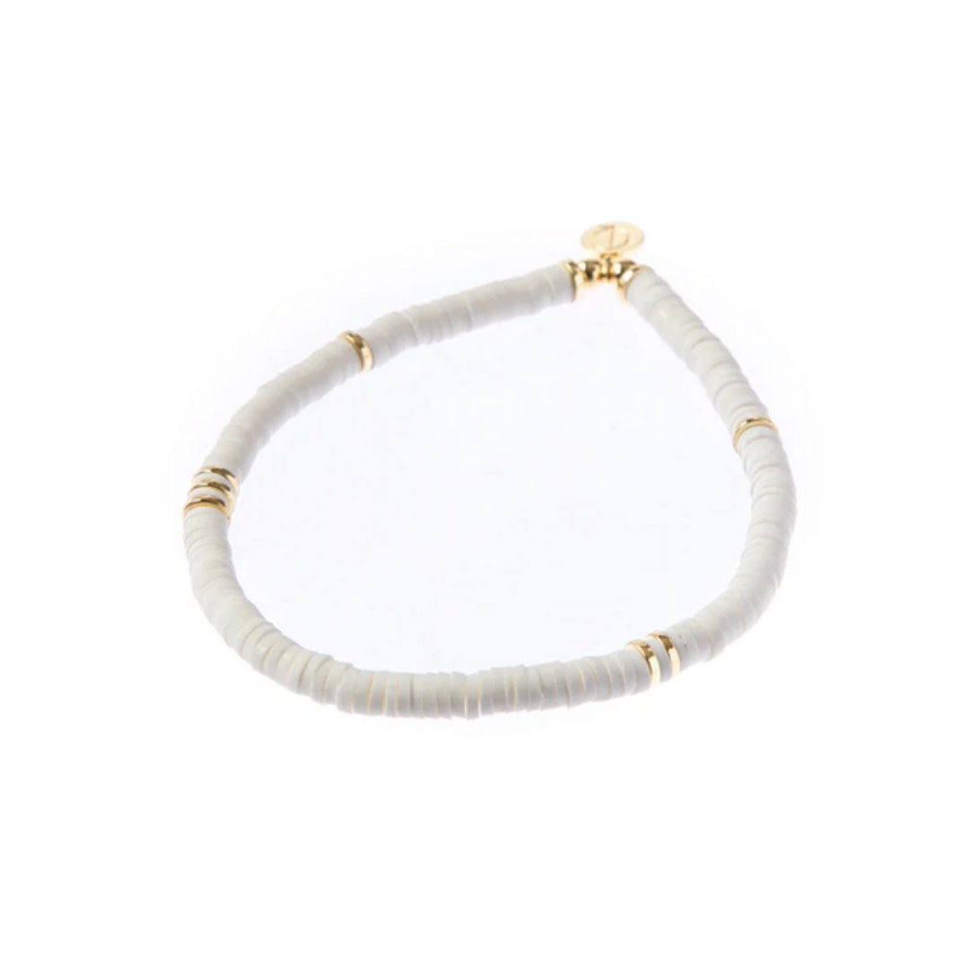 Caryn Lawn Caryn Lawn Skinny Disc Bracelet White