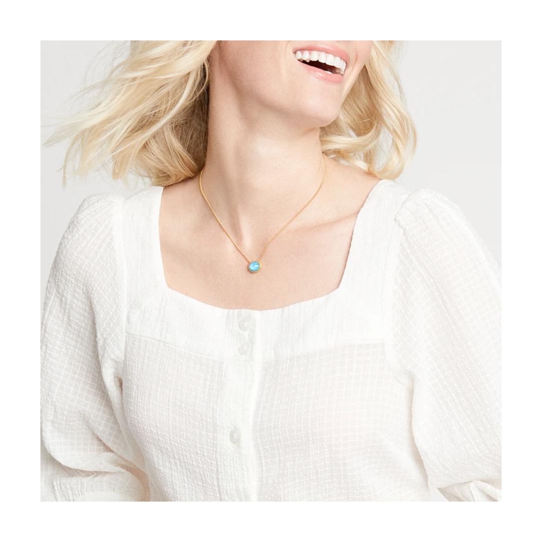 Julie Vos Julie Vos Verona Solitaire Necklace Chalcedony Blue