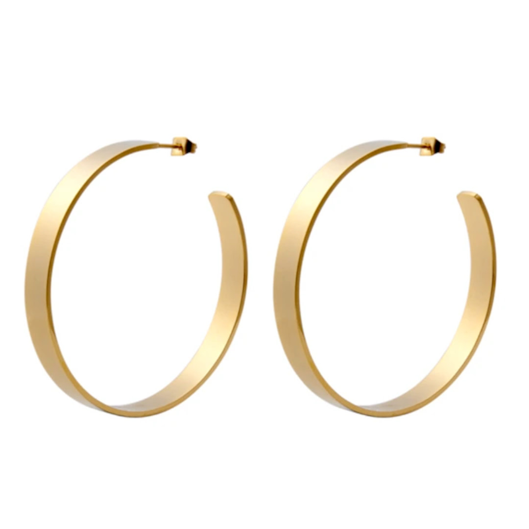 Accessory Concierge AC Jewelry Clio Flat Brass Hoops