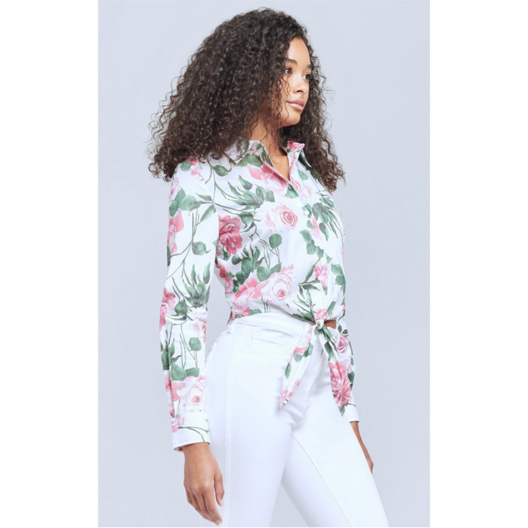 L'AGENCE L'agence Gaia Tie Front Blouse