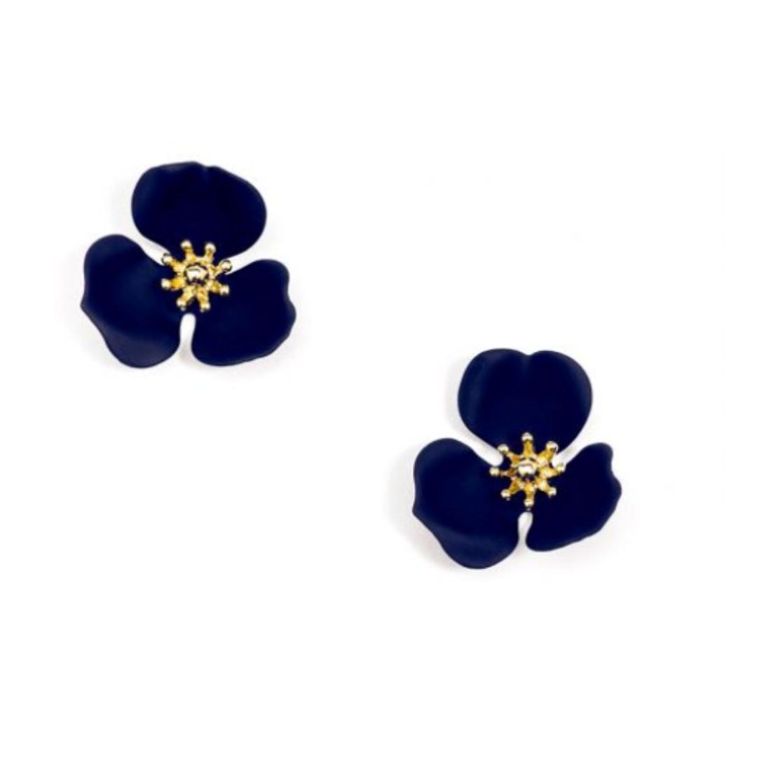 Zenzii Zenzii Blooming Lotus Stud Earring Navy