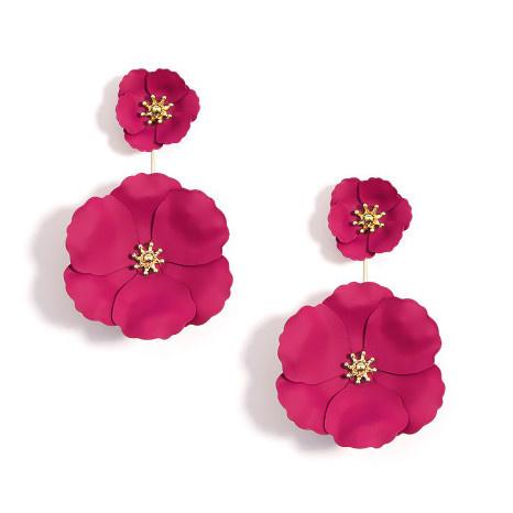 Zenzii Zenzii Flower Power Drop Earring Hot Pink