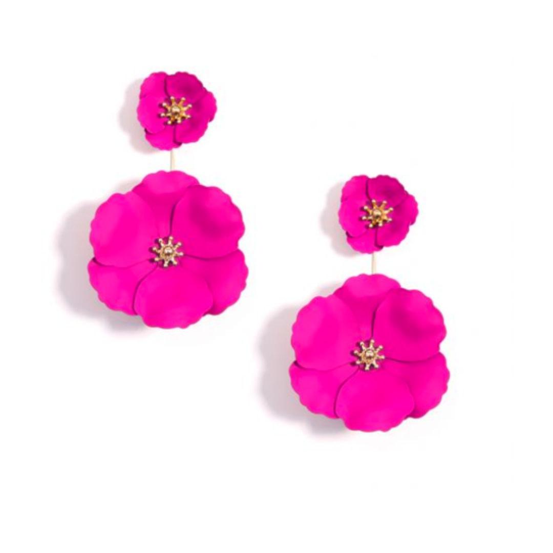 Zenzii Zenzii Flower Power Drop Earring Neon Pink