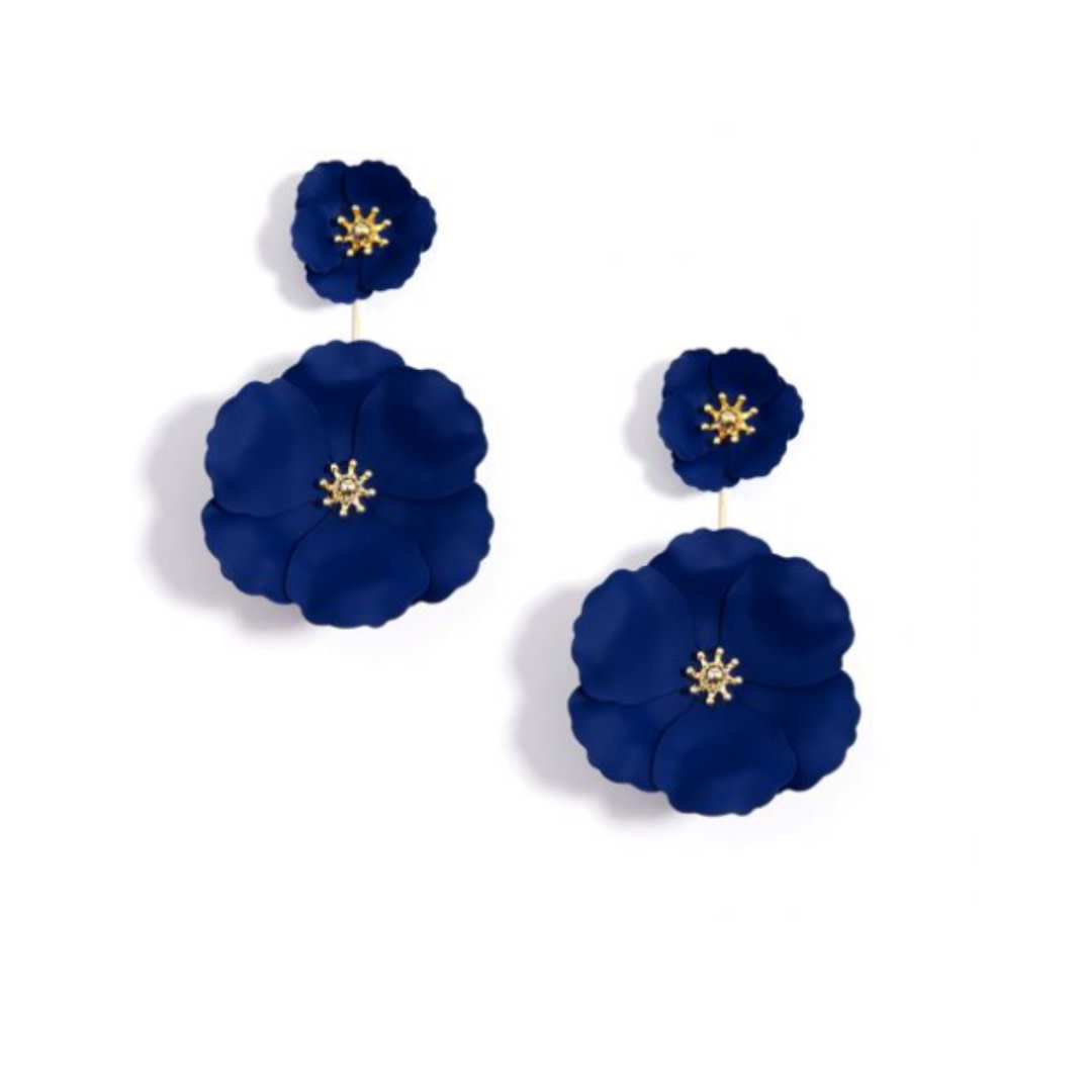 Zenzii Zenzii Flower Power Drop Earring Navy