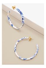 Zenzii Zenzii Blue Marbled Hoop Earring Cobalt