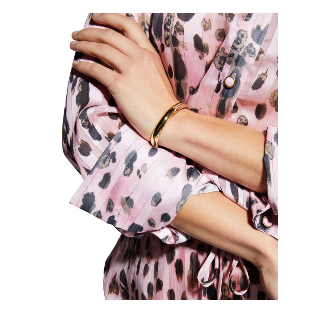 Milly Milly Pink Metallic Leopard Stipe Button Up