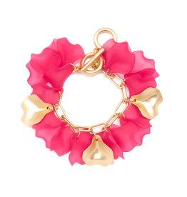 Zenzii Zenzii Sheer Petals Chain Bracelet Hot Pink