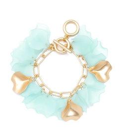 Zenzii Zenzii Sheer Petals Chain Bracelet Mint