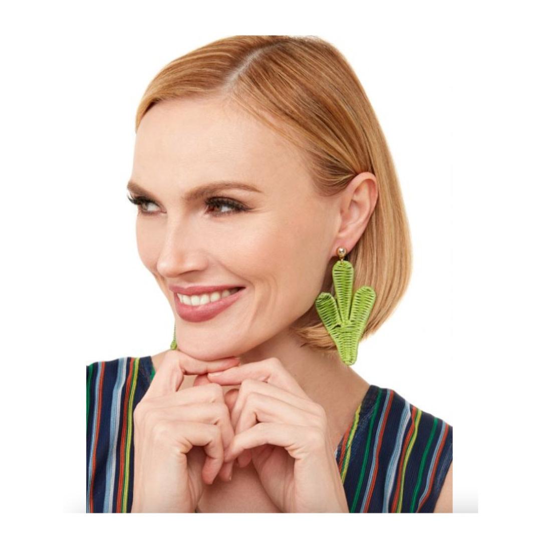 Zenzii Zenzii Cactus Drop Earring Green