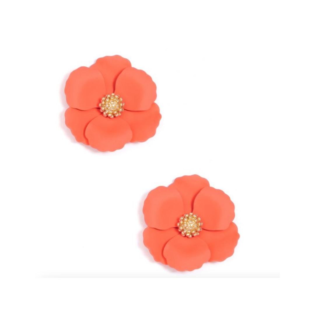 Zenzii Zenzii Metal Floral Stud Earring Coral