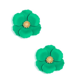 Zenzii Zenzii Metal Floral Stud Earring Dark Green