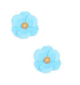 Zenzii Zenzii Metal Floral Stud Earring Light Blue