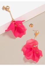 Zenzii Zenzii Sheer Resin Petal Drop Earring Hot Pink