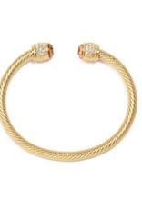 Zenzii Zenzii Crystal Twisted Cable Cuff Bracelet Gold