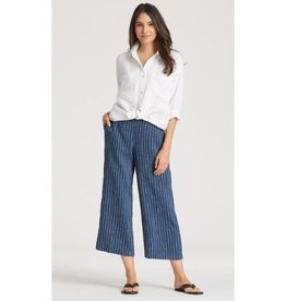 Eileen Fisher Eileen Fisher Organic Linen Delave Pinstripe Cropped Wide-Leg Pant