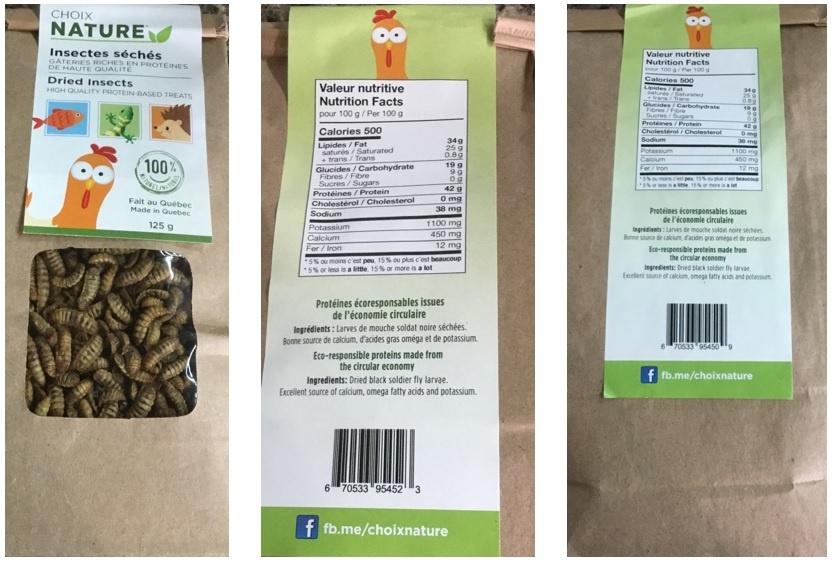 Choix Nature Insectes séchés larves de mouche soldat noir